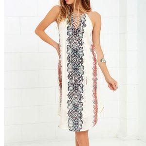 O'Neill Nicole Cream Midi Dress Boho Lace Up Neck